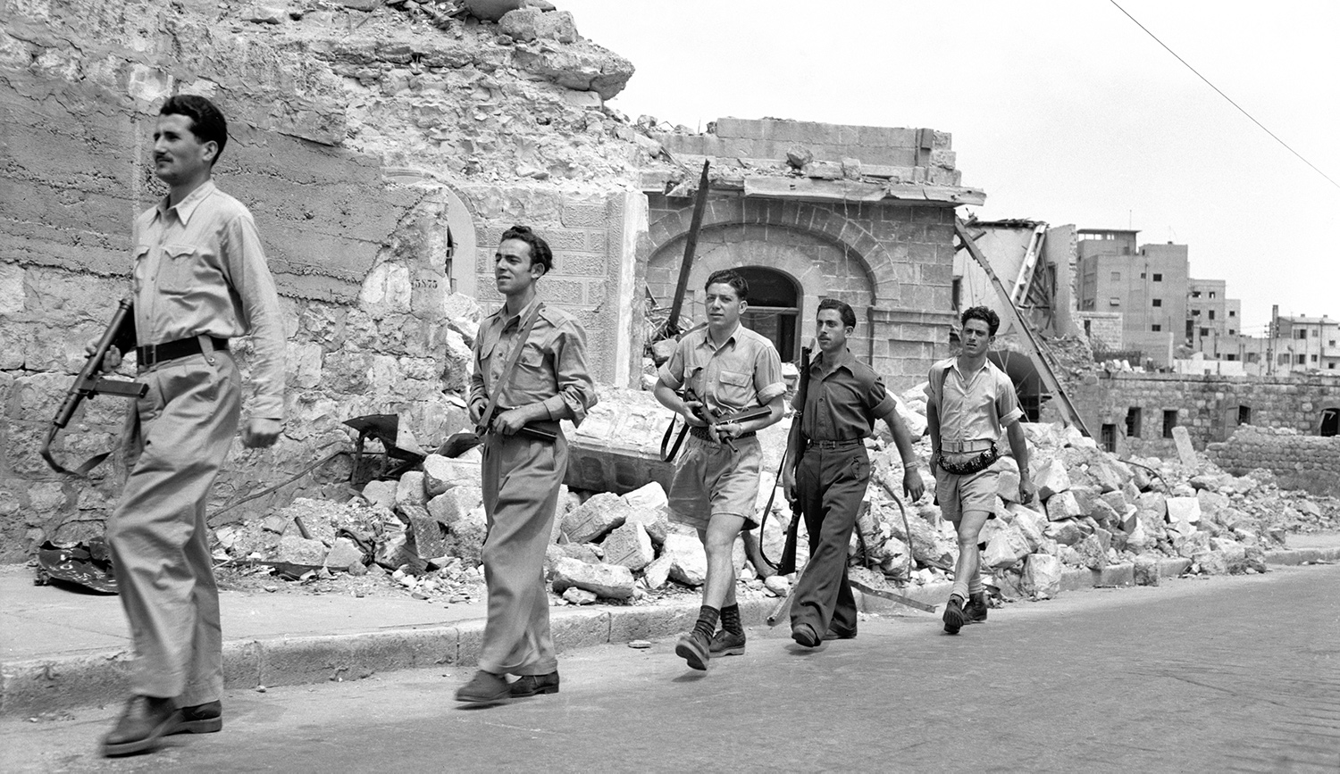 Haganah troops patrolling after the capture of Haifa in 1948. Bettmann via Getty.