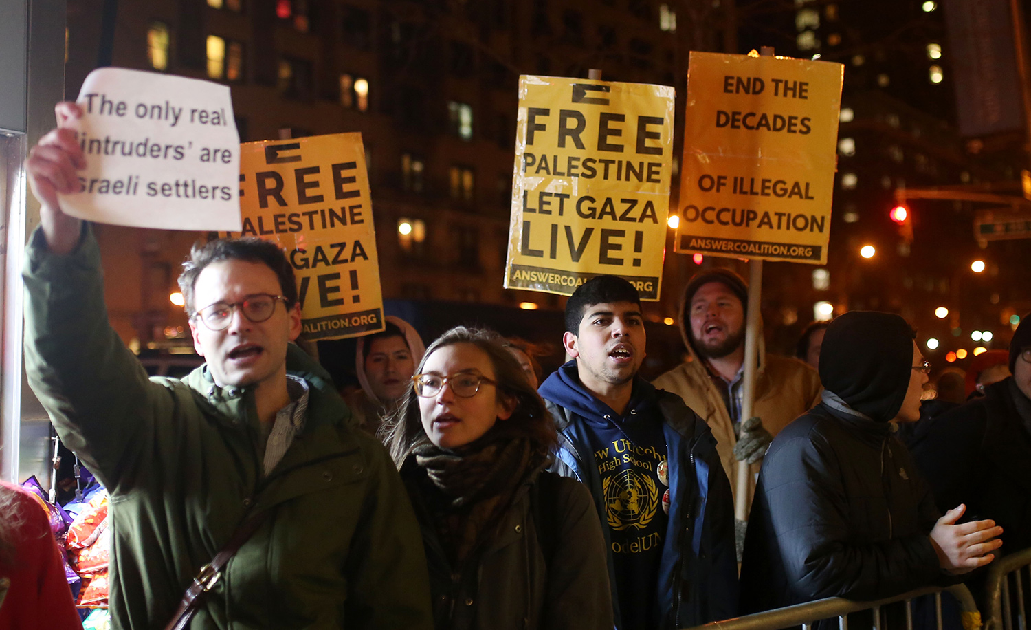 A group of students at Columbia University protest the visit there of Israel's Ambassador to the United Nations on February 13, 2017. Mohammed Elshamy/Anadolu Agency/Getty Images.