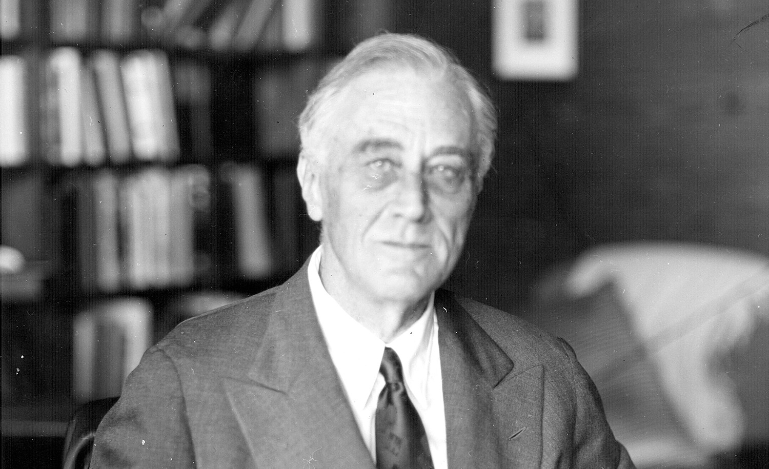 The last photograph of Franklin Delano Roosevelt, taken on April 12, 1945 at Warm Springs, GA by Nicholas Robbins. He died the following day. Wikipedia.