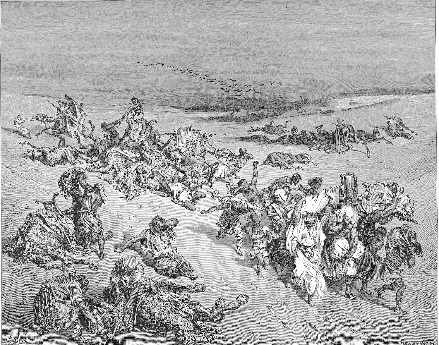From the 19th-century French artist Gustave Doré's The Murrain of Beasts, a woodcut of the fifth plague visited by God upon Egypt.Wikipedia.