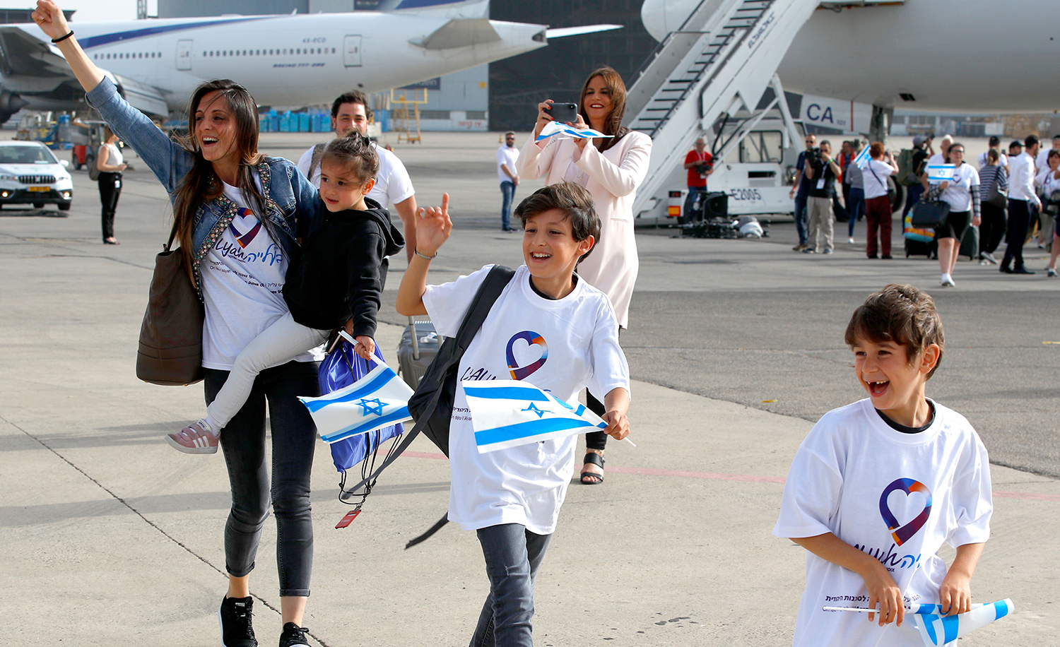 Jewish immigrants from France arriving at Ben Gurion International Airport in Israel on July 17, 2019. JACK GUEZ/AFP via Getty Images.