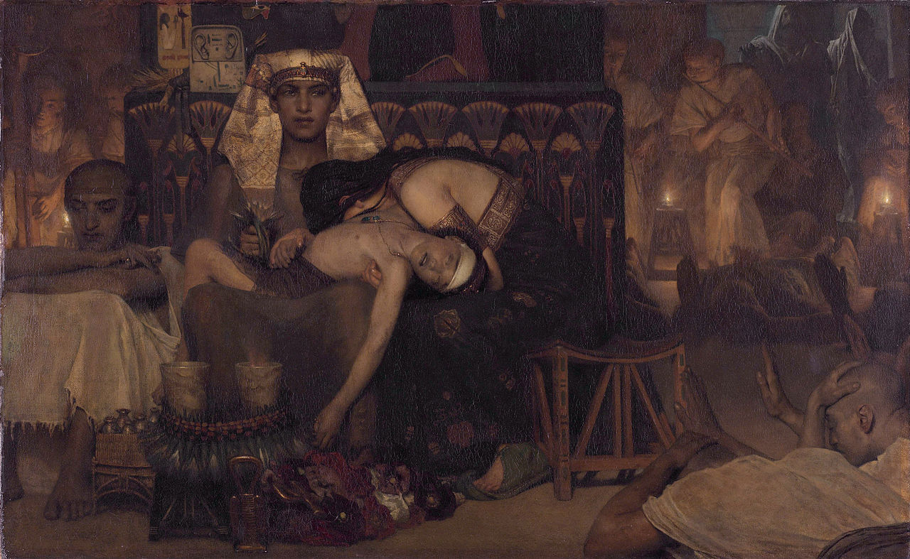 From Death of the Pharaoh's Firstborn Son by Lawrence Alma-Tadema, 1872. Wikimedia.
