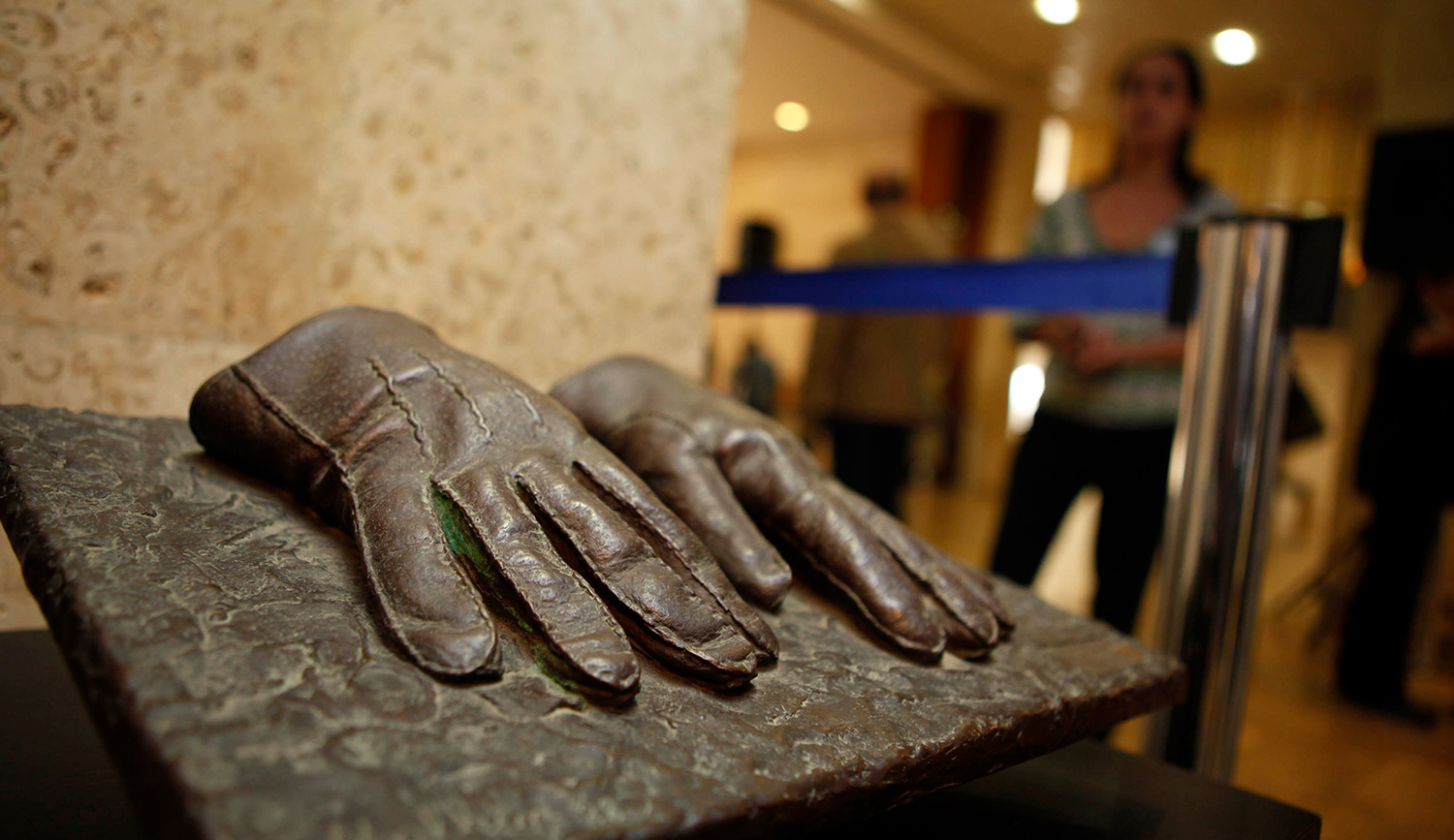 A replica of the gloves that were used by an Israeli Mossad agent during the capturing of Adolf Eichmann in Argentina in 1960 displayed at an exhibition at the Knesset in Jerusalem on December 12, 2011. GALI TIBBON/AFP via Getty Images.