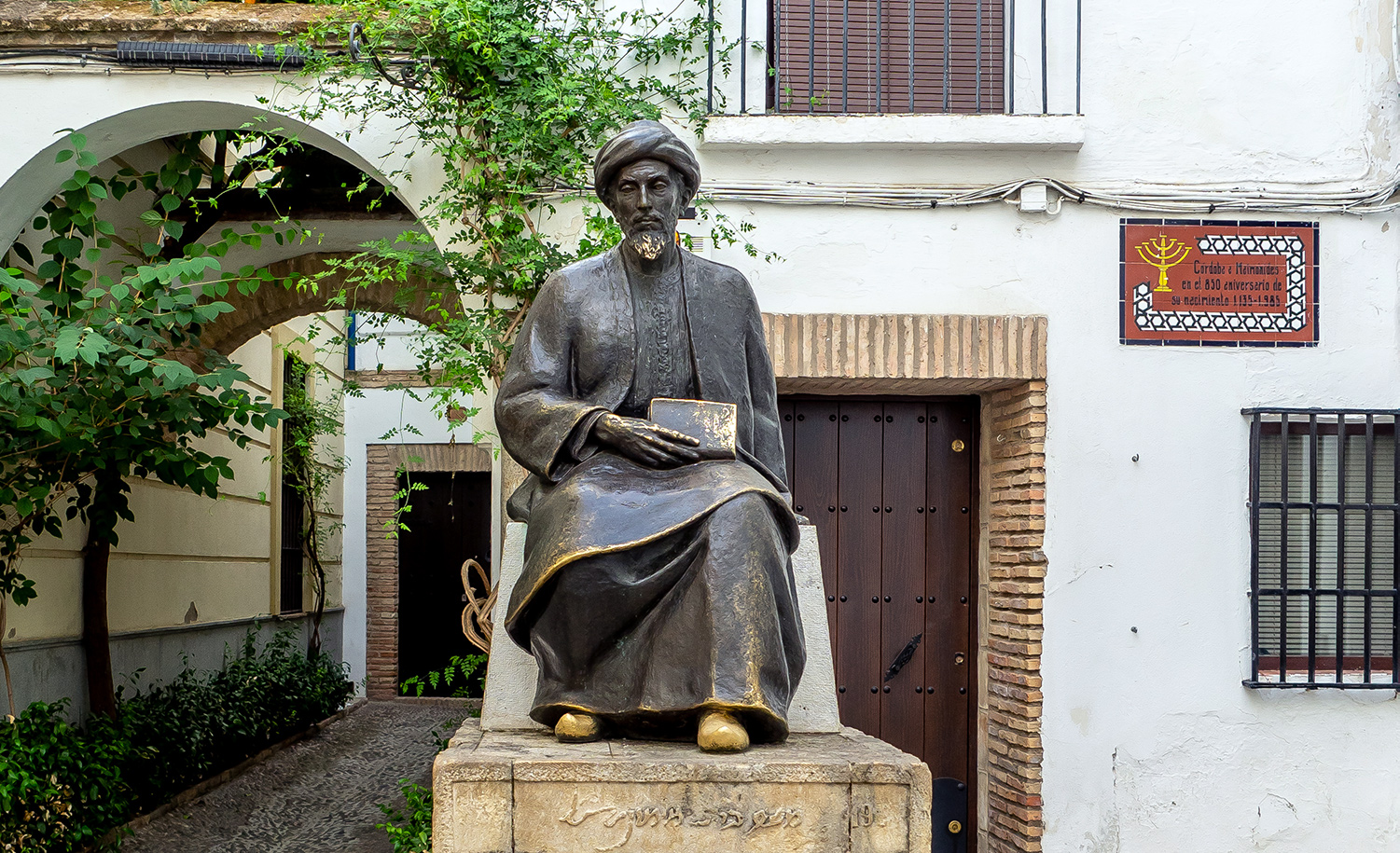 A monument to Maimonides in his birthplace of Cordoba, Spain.Wikimedia.
