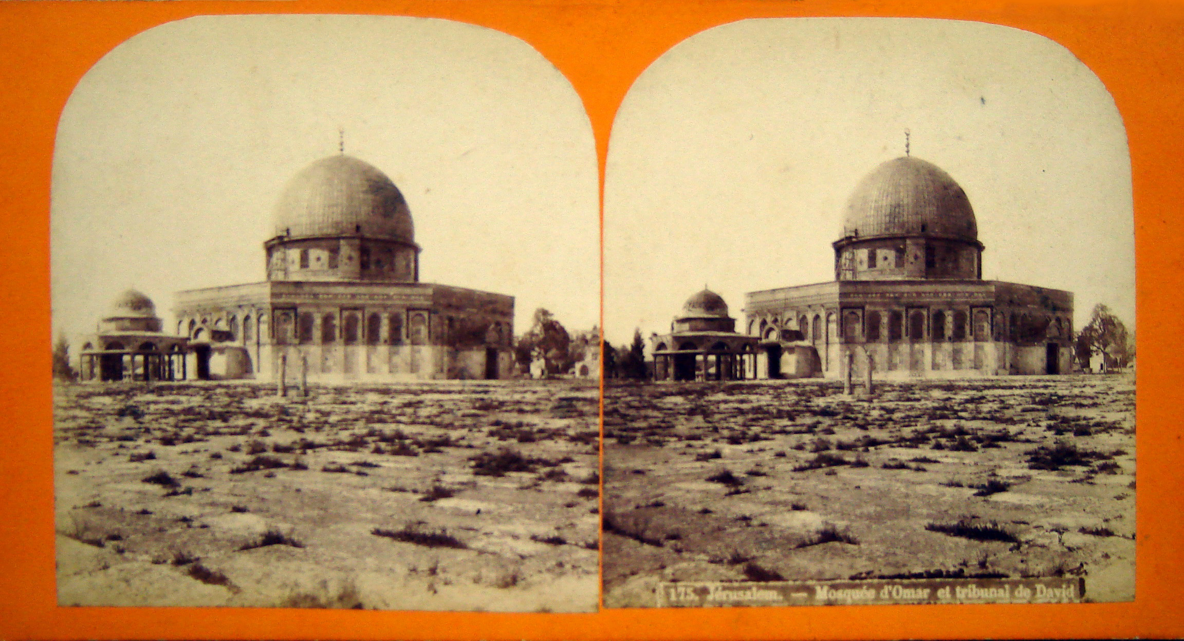 A stereo card of the Dome of the Rock from the late 19th century. Wikipedia.