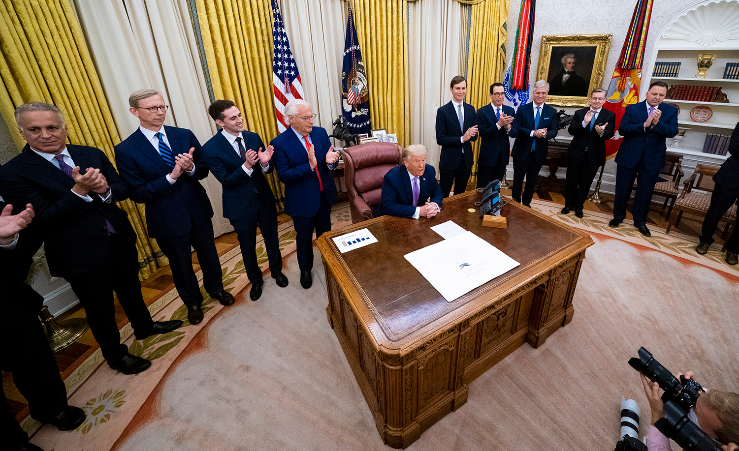 President Donald Trump speaks during a meeting with leaders of Israel and UAE announcing a peace agreement to establish diplomatic ties with Israel and the UAE on August 13, 2020 in Washington, DC. Doug Mills-Pool/Getty Images.