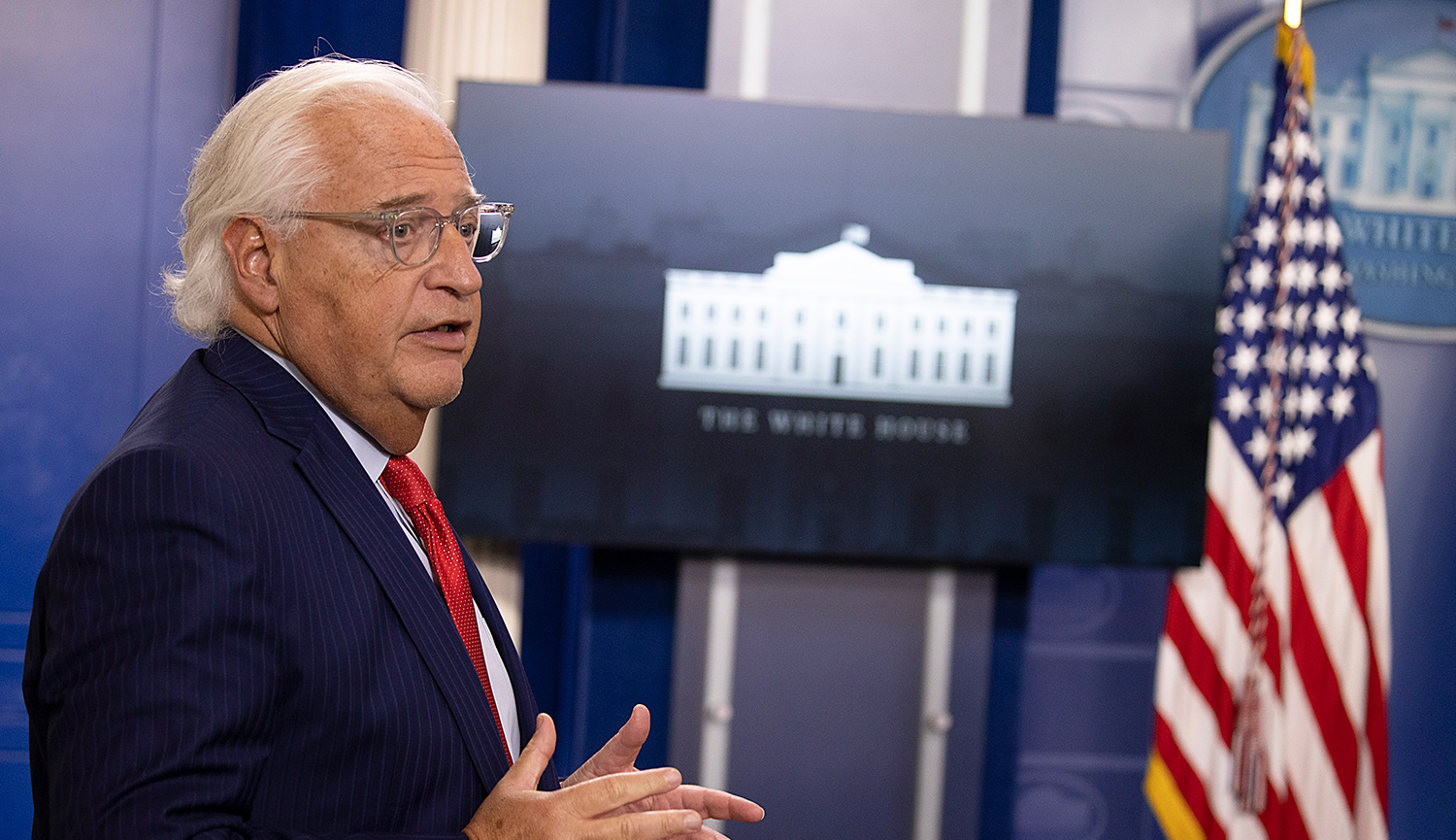 David Friedman, U.S. Ambassador to Israel, speaks during a briefing on the Emirates deal at the White House on August 13, 2020. Tasos Katopodis/Getty Images.