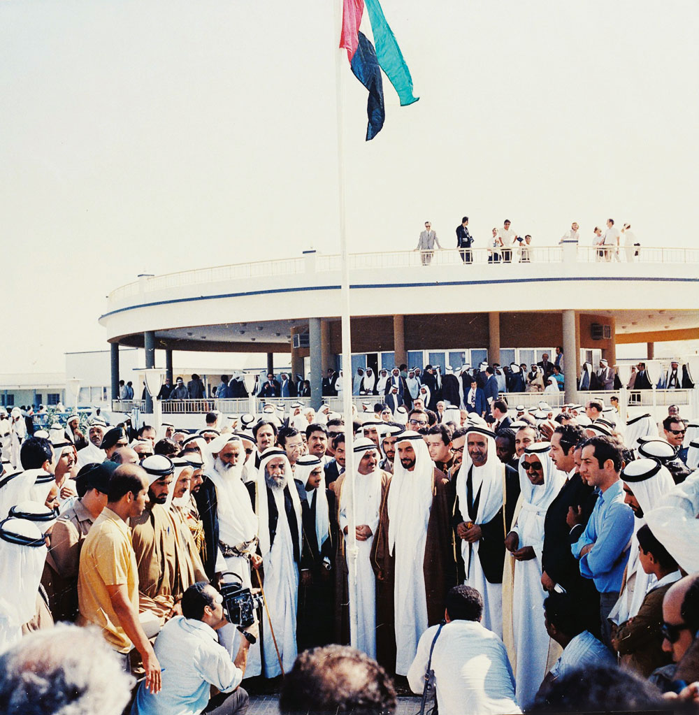 The first hoisting of the flag of the United Arab Emirates at the Union House in Dubai on December 2, 1971. Wikipedia.