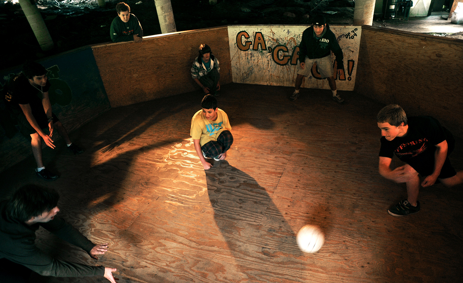 Jewish campgoers playing ga-ga ball at Camp Shwayder in Colorado in 2010. RJ Sangosti/The Denver Post via Getty Images.