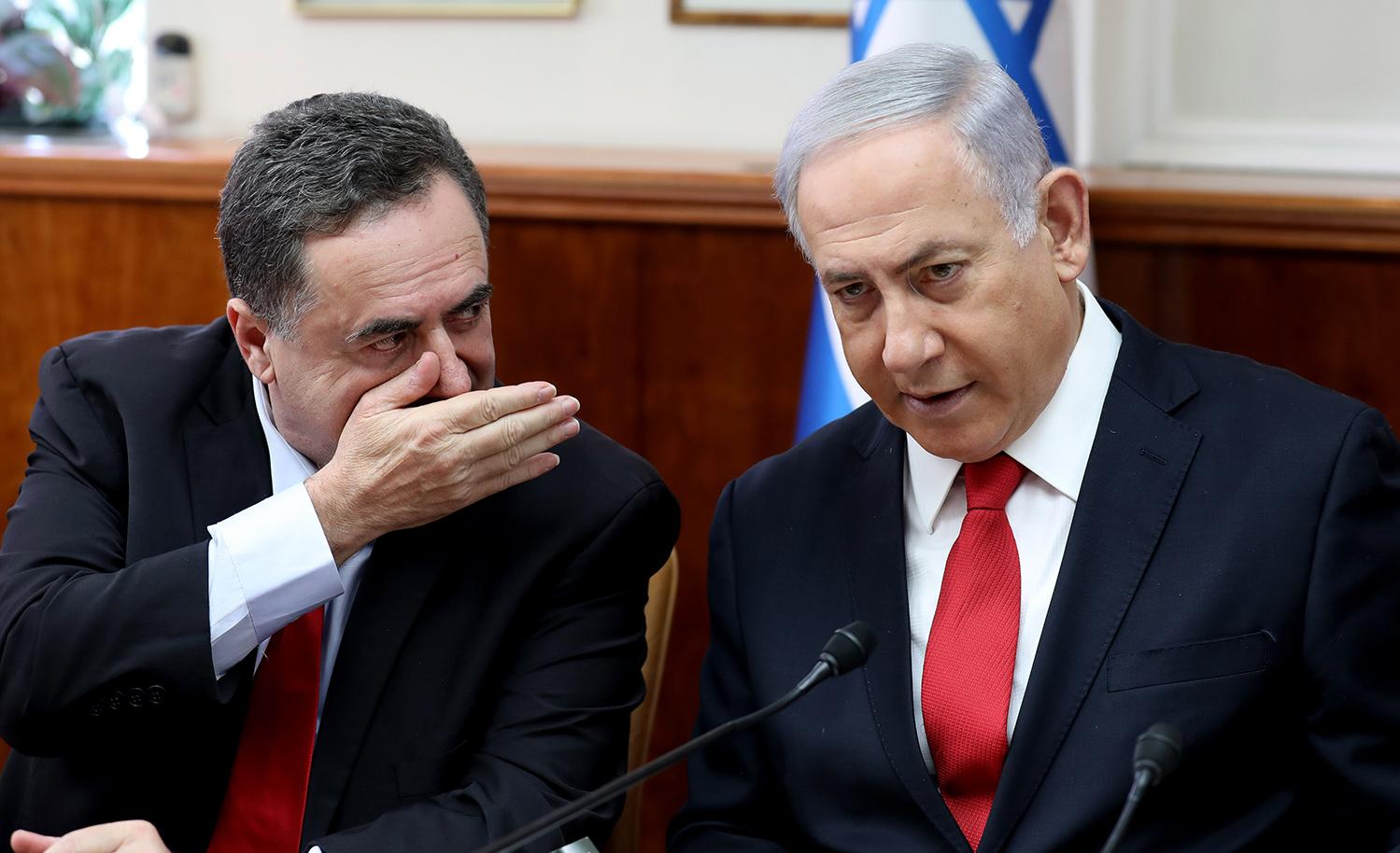 Israeli Finance Minister Israel Katz with Prime Minister Benjamin Netanyahu. GALI TIBBON/POOL/AFP via Getty Images.