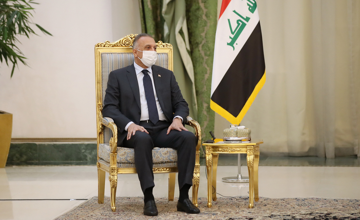 Iraqi Prime Minister Mustafa al-Kadhimi at a meeting with Iranian President Hassan Rouhani in Tehran on July 21, 2020. Presidency of Iran/Handout/Anadolu Agency via Getty Images.