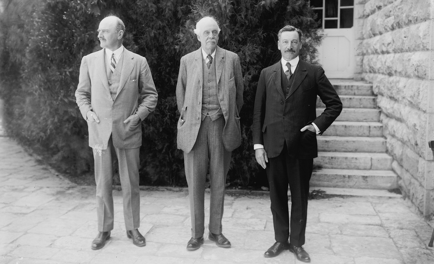 Lord Allenby, Lord Balfour, and Sir Herbert Samuel in 1925. Universal History Archive/Universal Images Group via Getty Images.