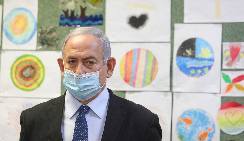 Israeli Prime Minister Benjamin Netanyahu at a school in Jerusalem ahead of the opening of the school year, August 25, 2020. Marc Israel Sellem/POOL.