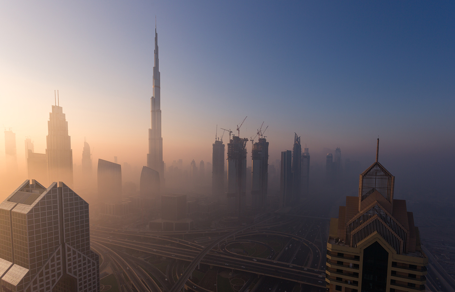 Downtown Dubai at sunrise on December 07, 2016. Rustam Azmi/Getty Images.