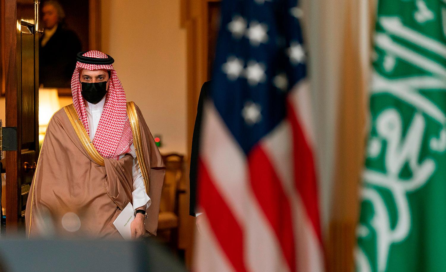 Saudi Minister of Foreign Affairs Prince Faisal bin Farhan al-Saud at the State Department in Washington, D.C. on October 14, 2020. MANUEL BALCE CENETA/POOL/AFP via Getty Images.