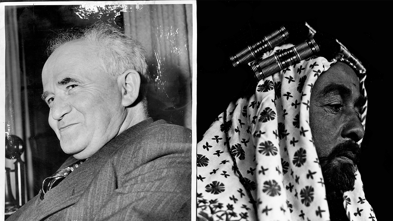 David Ben-Gurion on June 6, 1946; Abdullah bin Hussein in Transjordan in January 1935. Anthony Calvacca/New York Post Archives via Getty Images; Universal History Archive/UIG via Getty Images.