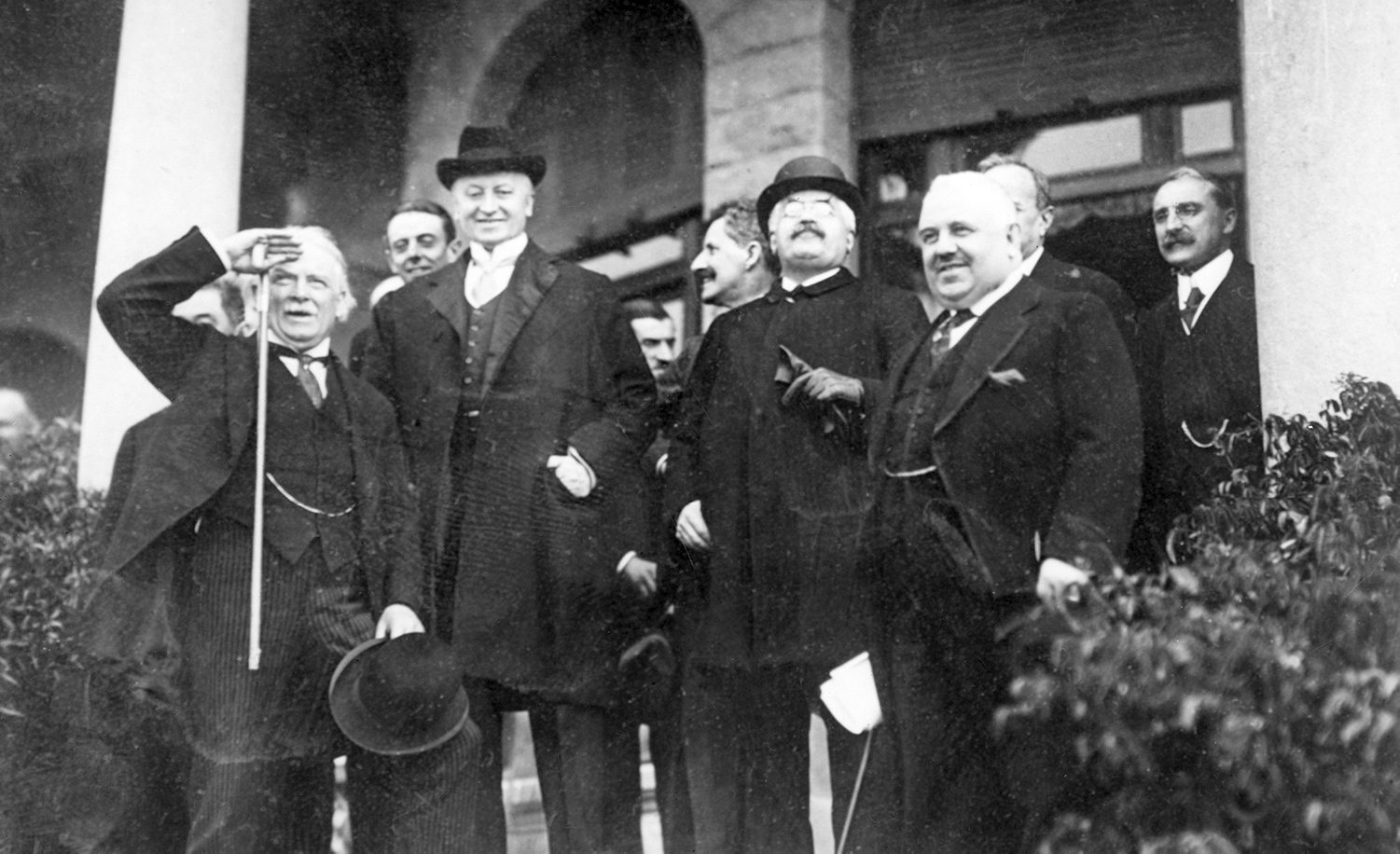 Prime Minister Lloyd George and Earl Curzon of the United Kingdom, Prime Minister Alexander Millerand of France, and Prime Minister Francesco Nitti of Italy at the League of Nations Peace Treaty Conference in San Remo on May 13, 1920. Getty.
