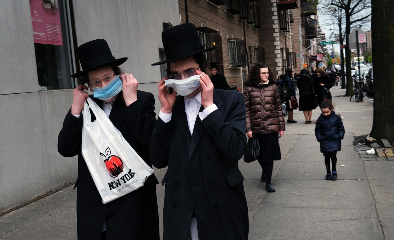 Orthodox Jews in Brooklyn on April 29, 2020. Spencer Platt/Getty Images.