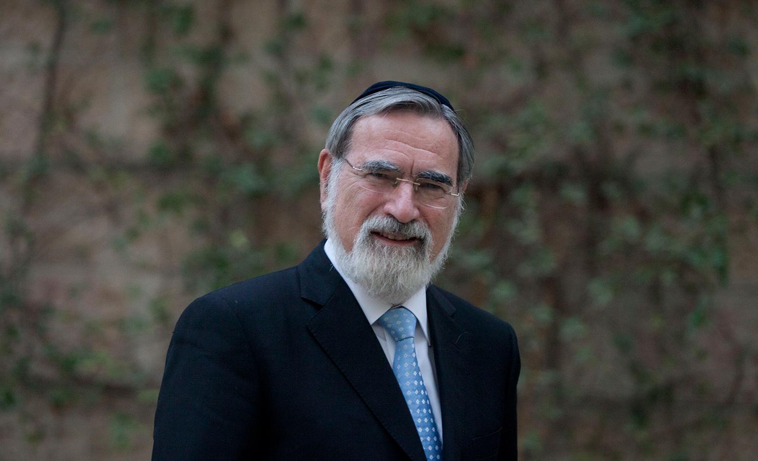 Rabbi Lord Jonathan Sacks on November 10, 2013 in Jerusalem. Lior Mizrahi/Getty Images.