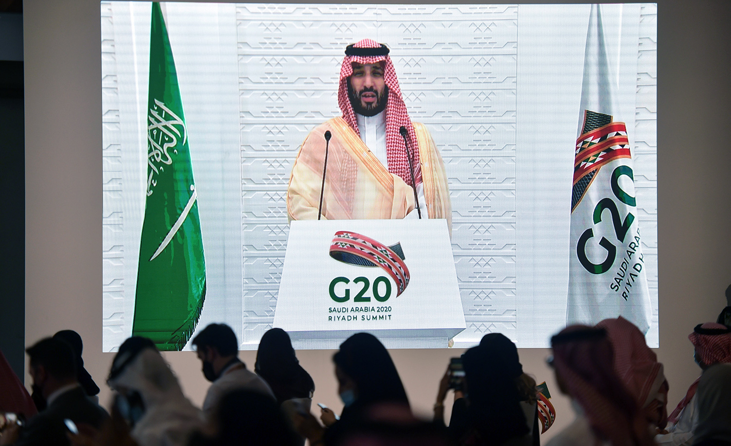 Saudi Crown Prince Mohammed bin Salman remotely addressing a press conference at the G20 Summit in Riyadh on November 22, 2020. FAYEZ NURELDINE/AFP via Getty Images.