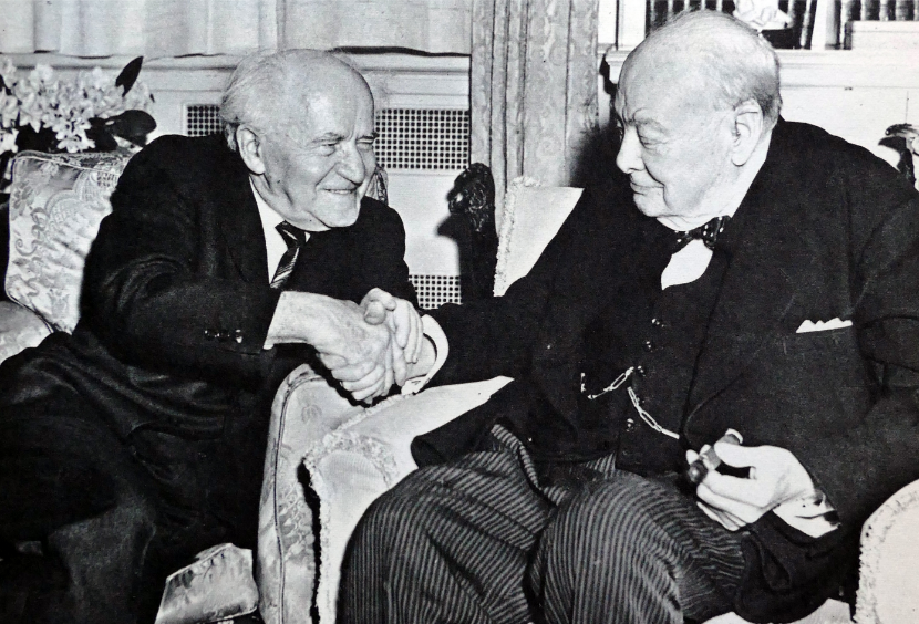 David Ben-Gurion visiting Winston Churchill in London in 1961. Universal History Archive/Universal Images Group via Getty Images.