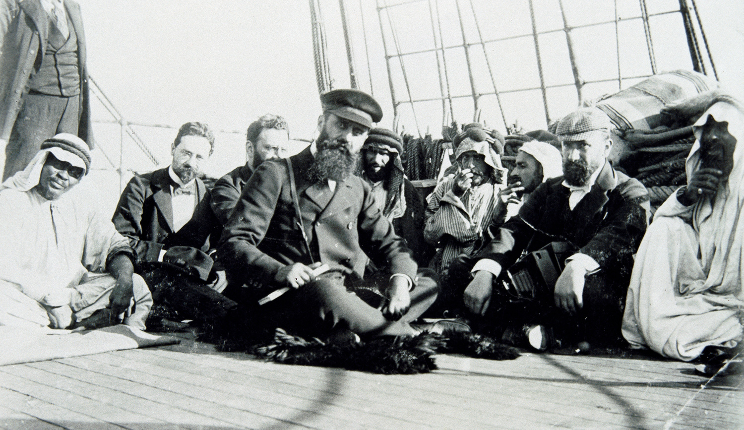 Theodor Herzl on board the Imperator Nikolaus II in 1898 with (from left to right) Max Bodenheimer, Moritz Schnirer und David Wolffsohn. Imagno/Getty Images.