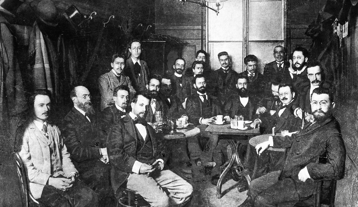 Theodor Herzl and other Viennese Zionists in the Cafe Louvre in 1896. Imagno/Getty Images.