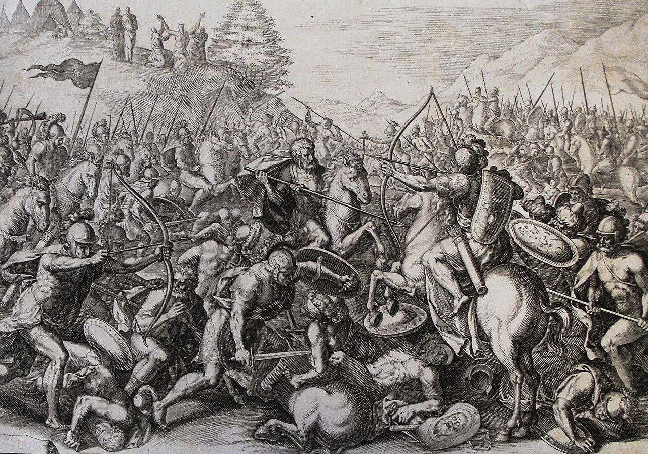An illustration from the Phillip Medhurst Collection of Bible illustrations depicting Joshua fighting Amalek as in Exodus 17. Wikipedia.