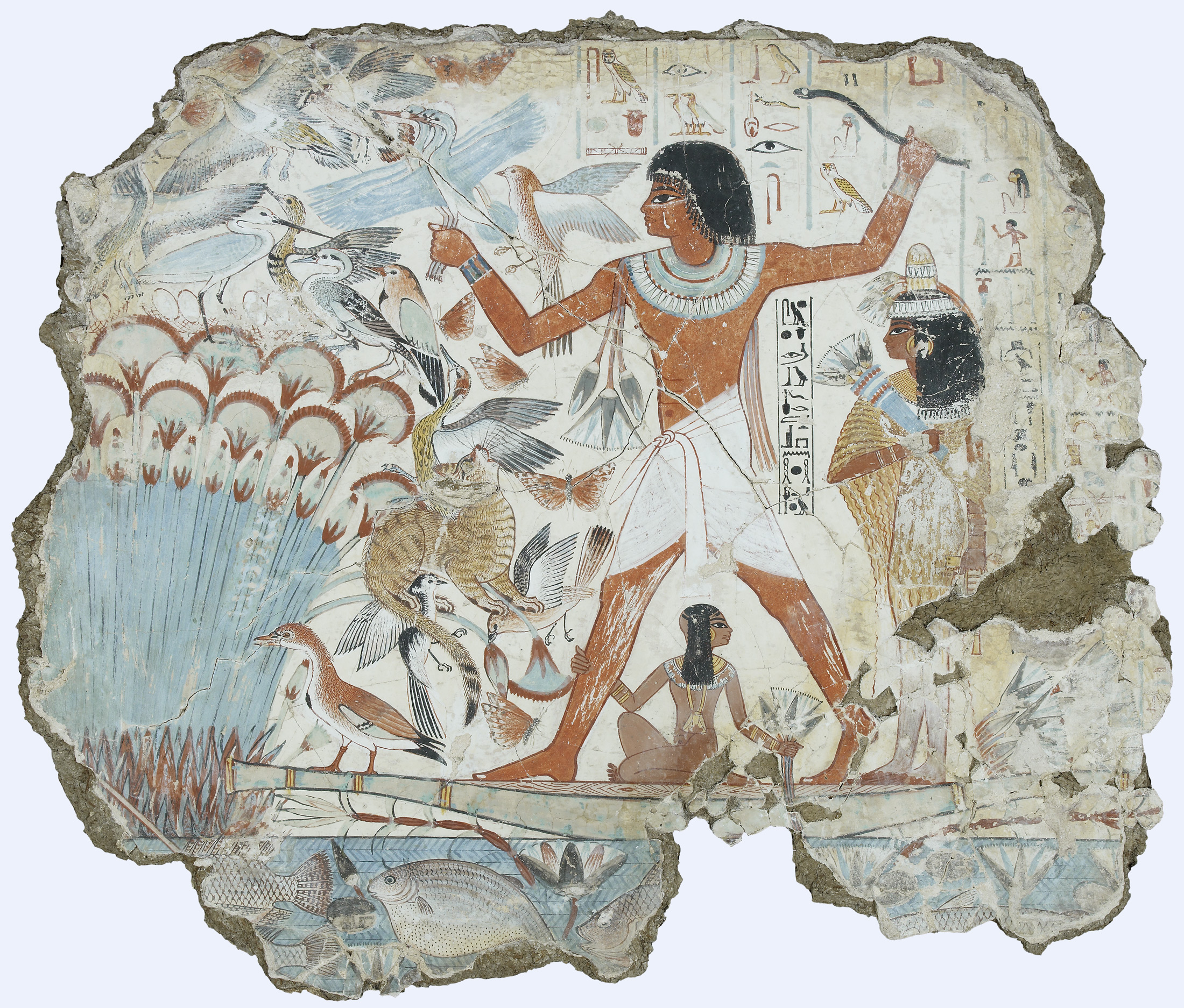 A fresco depicting the ancient Egyptian politician Nebamun hunting birds, 1350 BC. British Museum (London).
