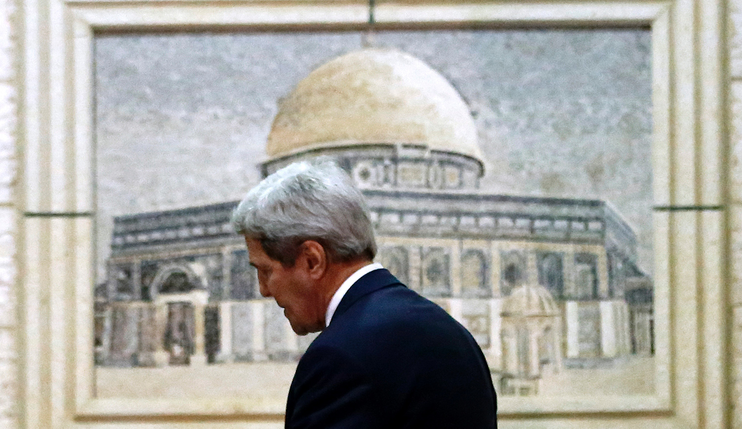 John Kerry, America's secretary of state at the time, arrives at Palestinian Authority headquarters in the West Bank city of Ramallah on November 24, 2015. ABBAS MOMANI/AFP via Getty Images.
