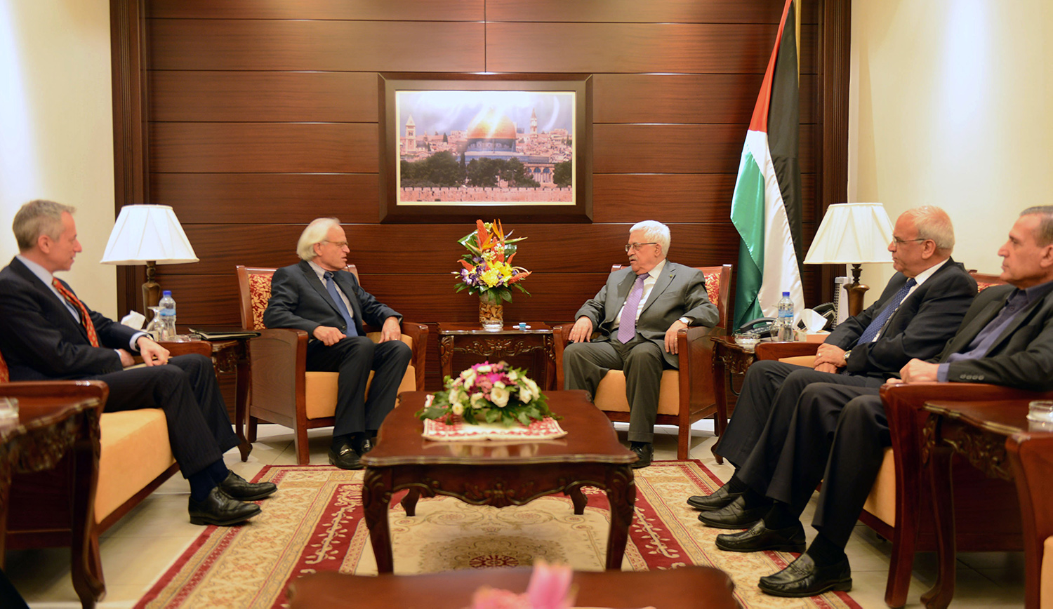 Palestinian Authority President Mahmoud Abbas with U.S. envoy Martin Indyk to discuss peace talks with Israel on September 17, 2013 in Ramallah. Thaer Ghanaim/PPO via Getty Images.