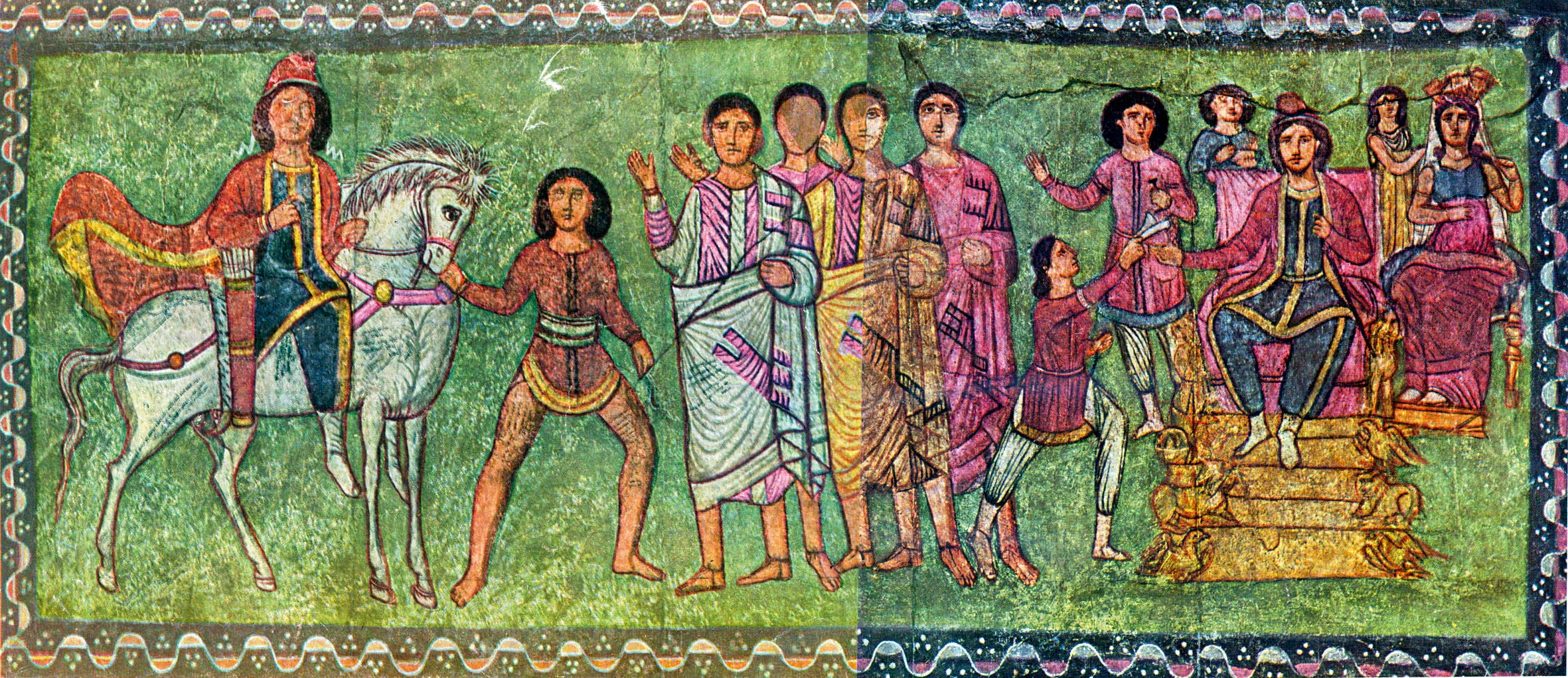 An early 3rd-century CE painting of Esther and Mordecai found in the Dura-Europos synagogue in Syria. Wikipedia.