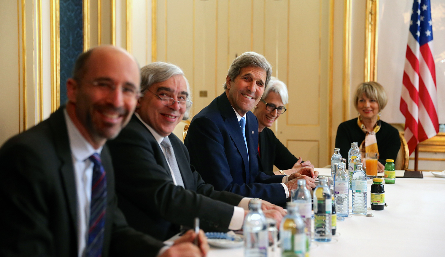 Robert Malley, then-National Security Council senior director for Iran, Iraq, Syria, and the Gulf States, Secretary of Energy Ernest Moniz, Secretary of State John Kerry, and under-secretary for political affairs Wendy Sherman attend the Iran nuclear talks at a hotel in Vienna, Austria on June 30, 2015. POOL/Siamek Ebrahimi/Anadolu Agency/Getty Images.