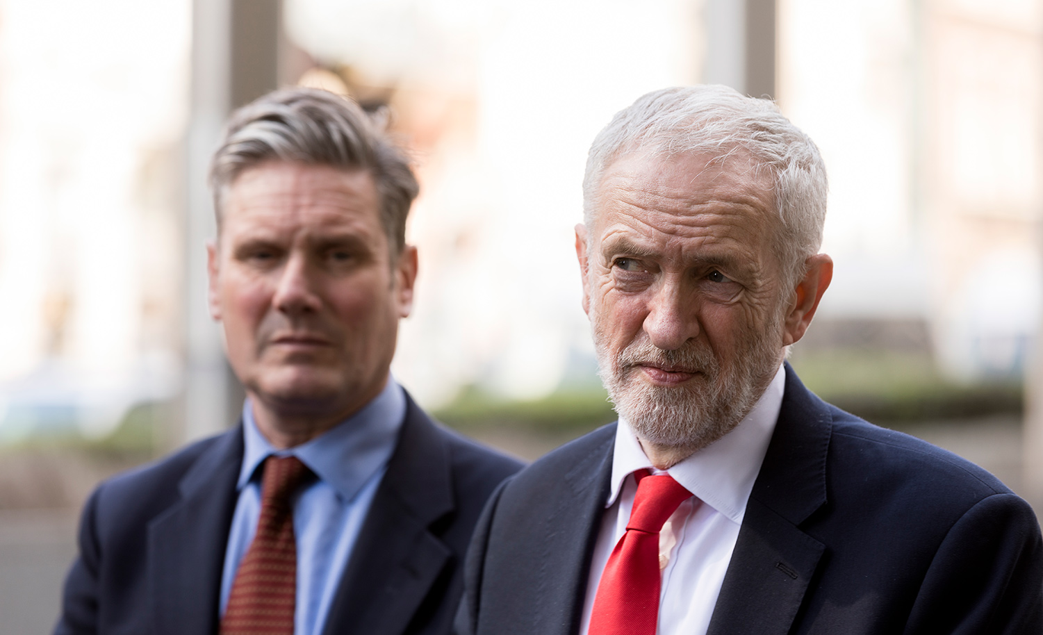 Then-MP Keir Starmer with then-British Labor leader Jeremy Corbyn on March 21, 2019 in Belgium. Thierry Monasse/Getty Images.