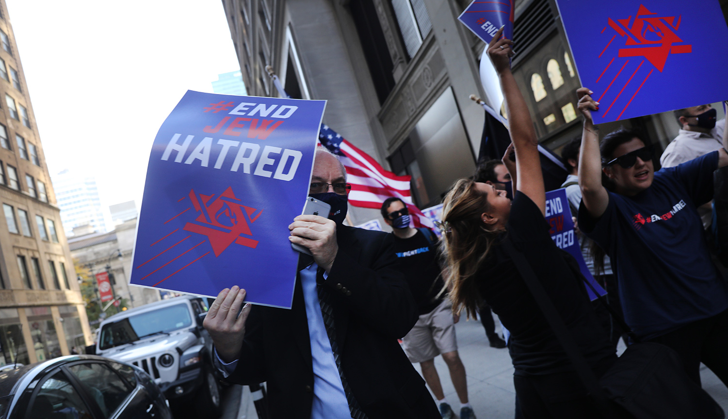 Protesters rally in Manhattan on October 15, 2020. Spencer Platt/Getty Images.