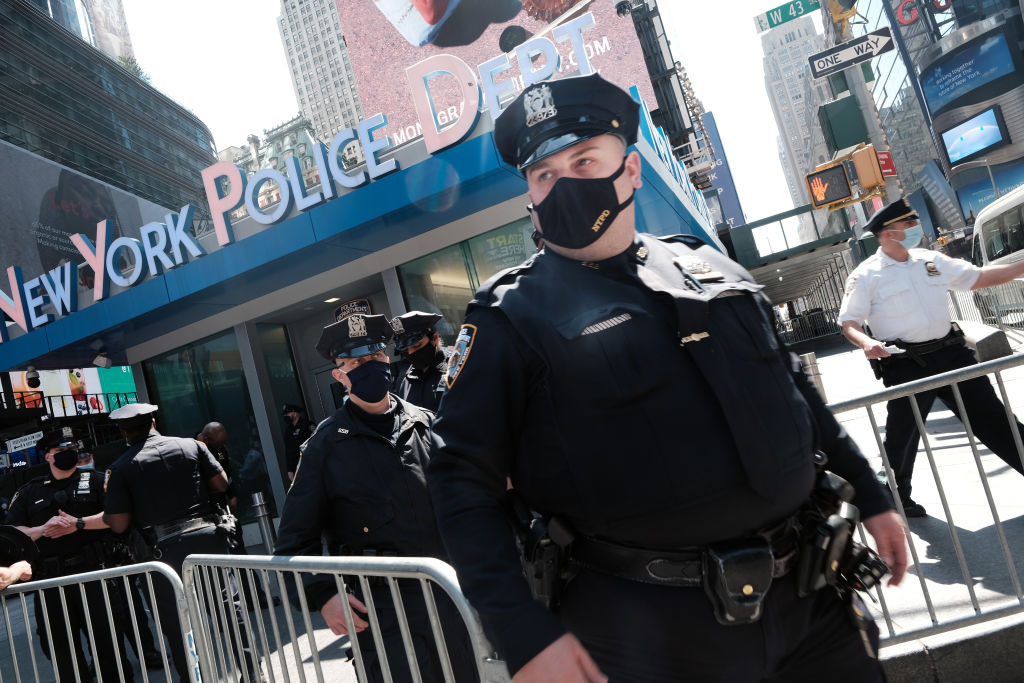 Members of the New York City Police Department listen to a security briefing on April 20, 2021 in Times Square. Photo by Spencer Platt via Getty Images.