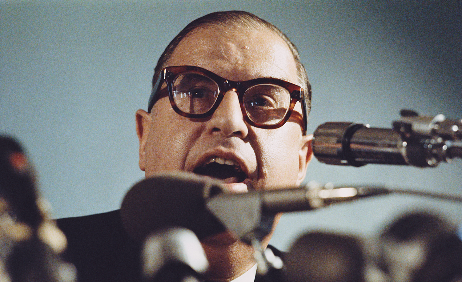 Abba Eban at a press conference in September 1970. Rolls Press/Popperfoto via Getty Images/Getty Images.