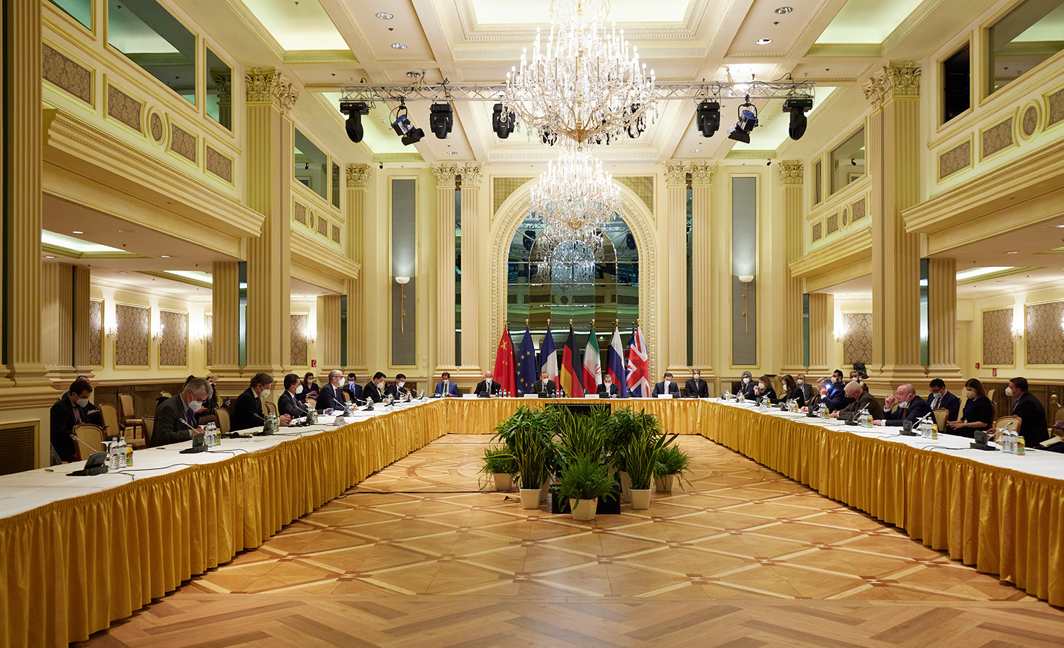 A meeting to discuss the full implementation of the Iran nuclear deal and the return of the United States to the deal in Vienna on April 15, 2021. EU Delegation in Vienna/Handout/Anadolu Agency via Getty Images.