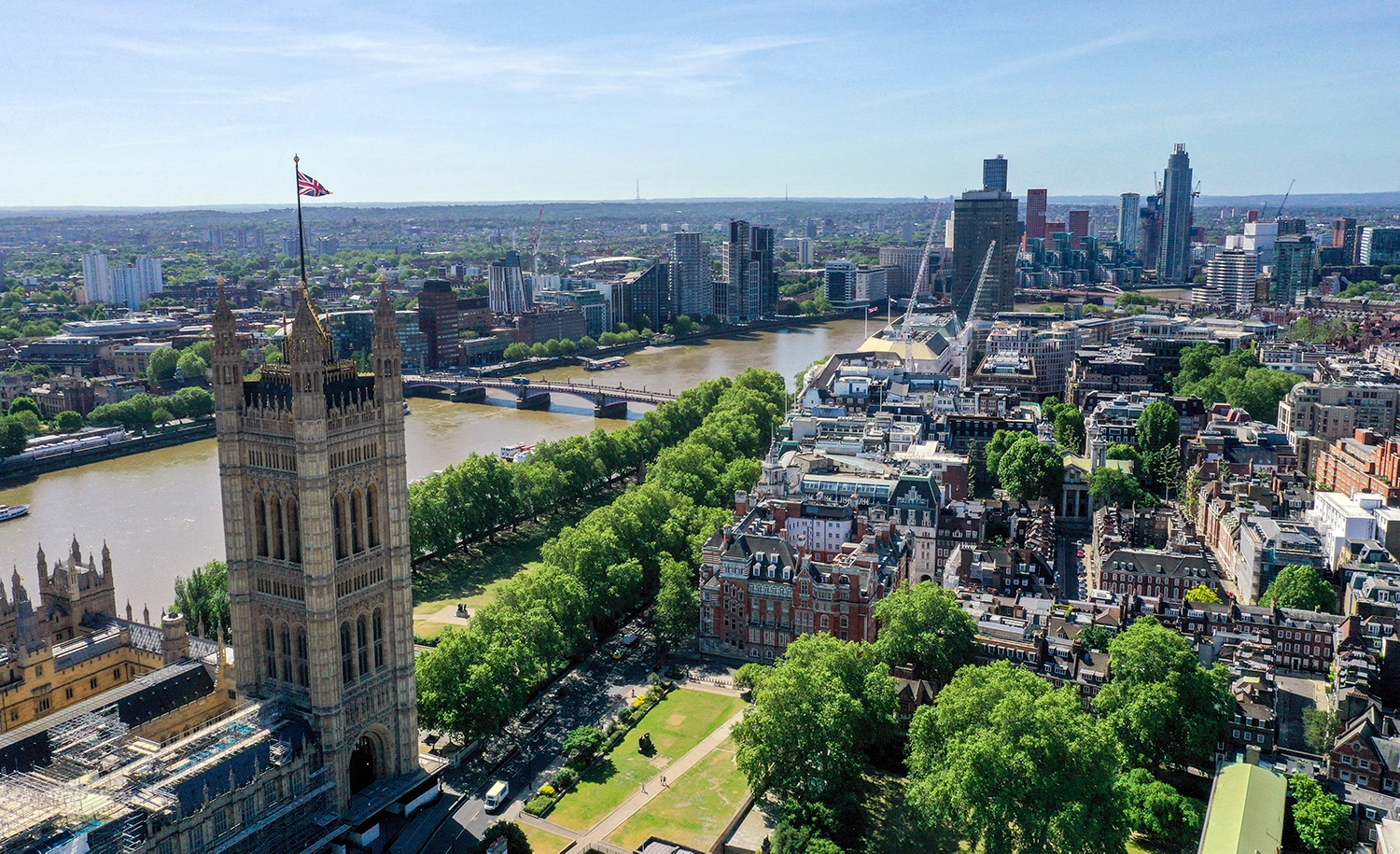 An aerial view of central London showing the Victoria Tower at the Palace of Westminster (left) and the Victoria Tower Gardens. Steve Parsons/PA Images via Getty Images.