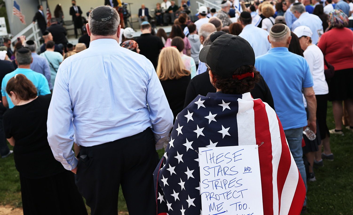 A rally against anti-Semitic violence on May 27, 2021 in Cedarhurst, New York. Michael M. Santiago/Getty Images.