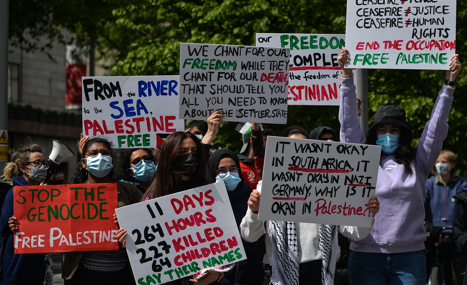 Protesters outside the Israeli Embassy in Dublin on Saturday, 22 May 2021. Artur Widak/NurPhoto via Getty Images.