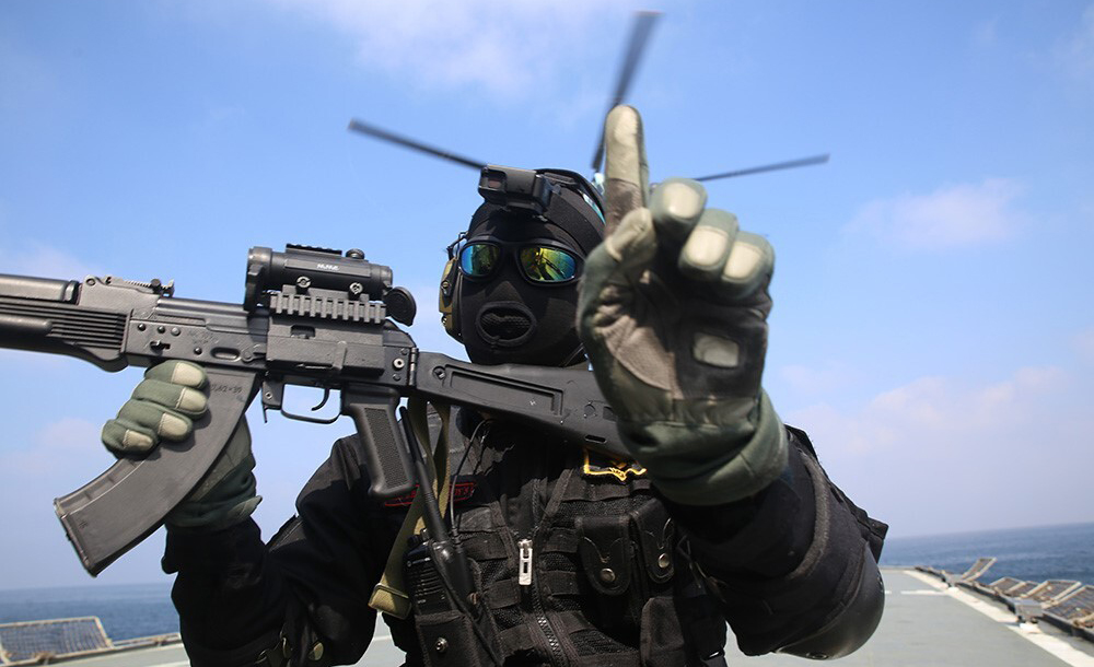 A member of the Iranian navy at a military exercise in the Arabian Sea on February 17, 2021. Iranian Army/Handout/Anadolu Agency via Getty Images.