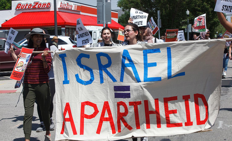 Anti-Israel marchers in Columbus, Ohio in June 2021. Stephen Zenner/SOPA Images/LightRocket via Getty Images.
