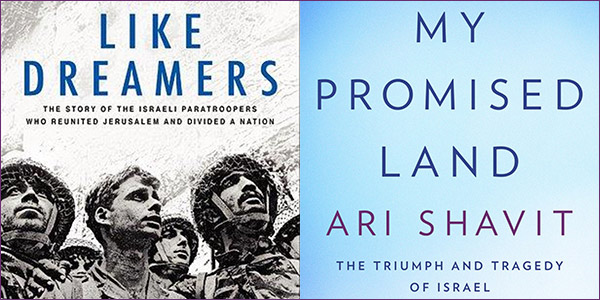 The covers of Like Dreamers by Yossi Klein Halevi and My Promised Land by Ari Shavit.
