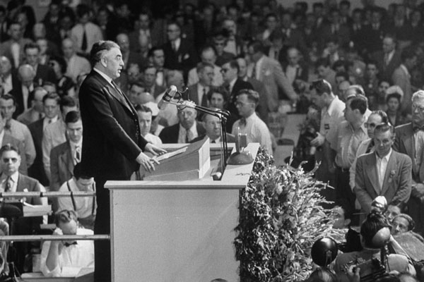 <em>Rabbi Abba Hillel Silver speaks at the 1948 Republican Convention.</em>  Photo by Leonard Mccombe/Time Life Pictures/Getty Images.
