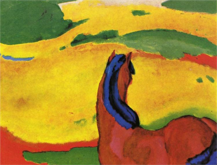 "Horse in a Landscape, 1910, by the German Expressionist Franz Marc, denounced by the Nazis as a ""degenerate"" artist. Courtesy Wikipaintings."