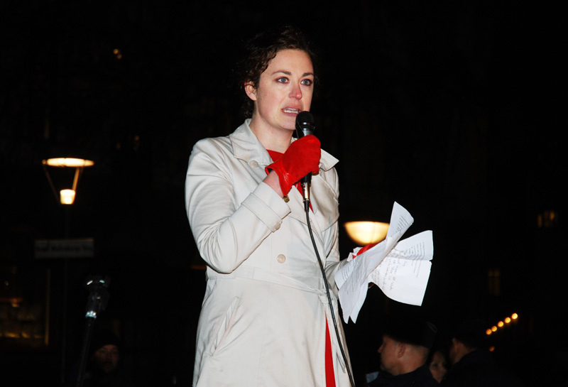 Annika Hernroth-Rothstein speaks at a rally in Stockholm, 2012. Courtesy Anders Henrikson.