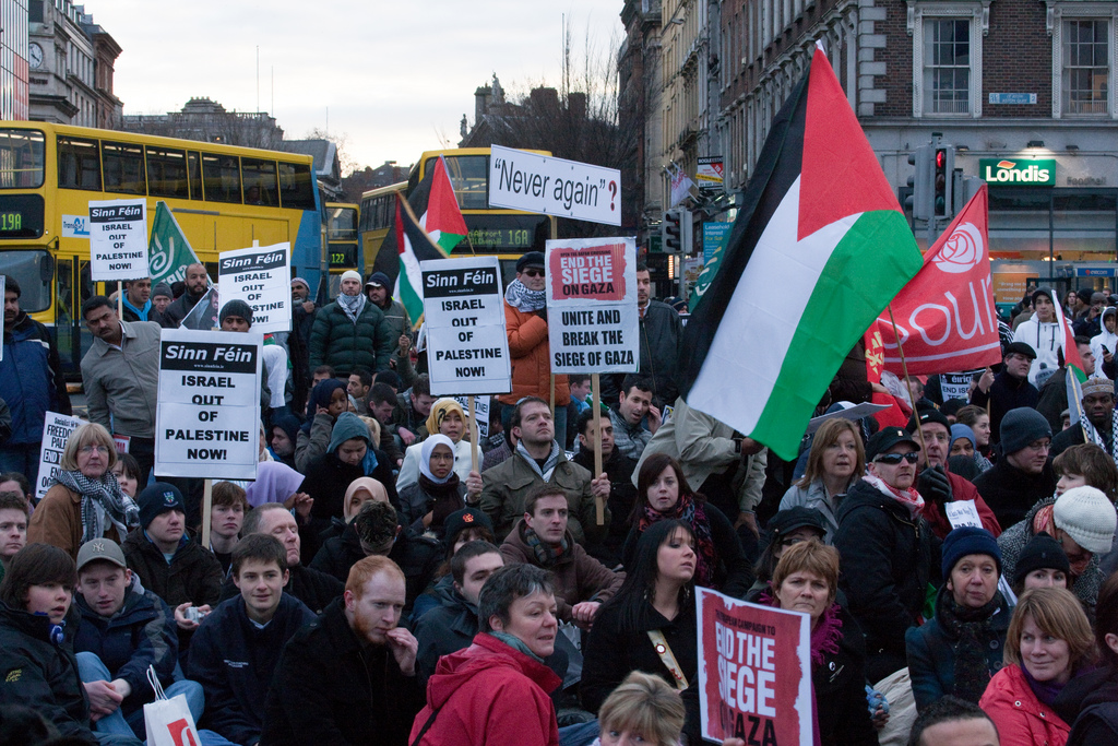 Anti-Israel protestors in Ireland in January 2009.  Photo by William Murphy via Flickr.