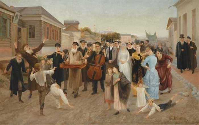 <em>Painting of a marriage procession in a Russian shtetl </em>by Isaak Asknaziy. Courtesy Wikimedia.