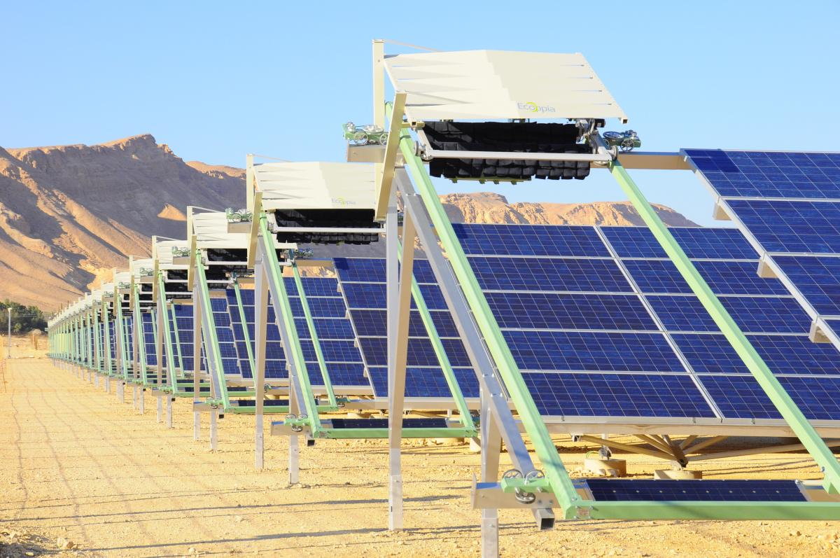 <em>An Israeli-made Ecoppia solar-panel cleaning system.</em> Courtesy Ecoppia.